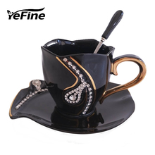 YEFINE Diamonds Design Coffee Mug Creative Gift Lovers Tea Cups 3D Ceramic Mugs With Rhinestones Decoration Cups And Saucers(China)