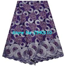 2017 New arrival High Quality Eyelet African Swiss Voile Lace Fabrics Purple color African Cord Lace With Rhinestones Lace AG67