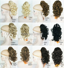 Blonde Mix Ponytail Hairpiece Long Curly Claw Clip in/on Hair Piece Extension free shipping