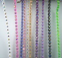 SS12 B Grade AB crystal glass 3mm rhinestones plastic cup clothes shoes hat bag wedding dress decorations banding chain 2Yards