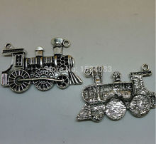 Free shipping 2pcs 47*32mm Steam Industrial Revolution Coal Locomotive train charms pendant jewelry accessories antique silver(China)
