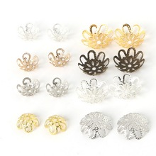 Wholesale 300pcs Gold/Silver/Rhodium/KC Gold Color Hollow Flower Iron Bead Caps Jewelry Finding 10*4mm