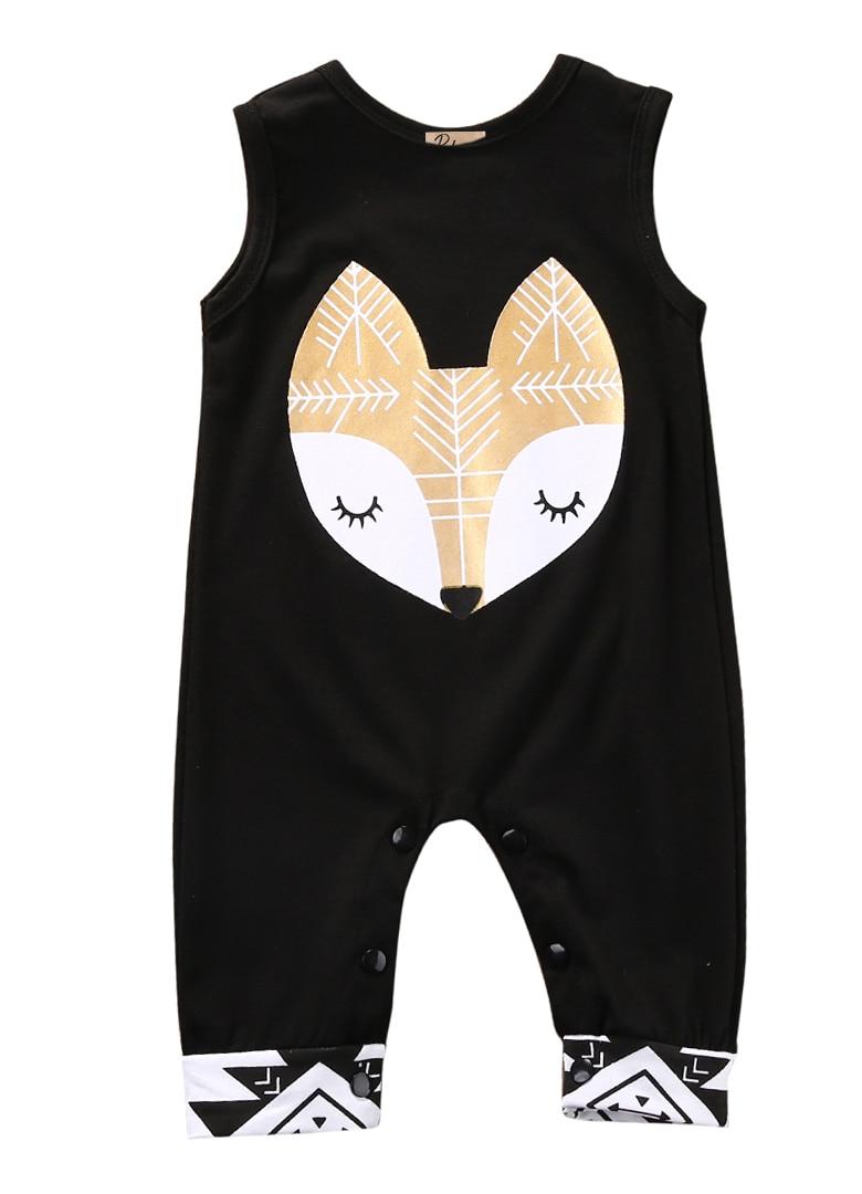 Newborn Baby Boy Girl Cartoon Fox Romper Jumpsuit Sunsuit Summer Outfits Clothes