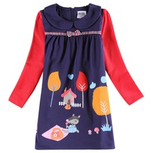 Retail NOVA kids clothes2015 latest item girls dresses cute flower animal pattern fall winter children's  frocks baby girl dress