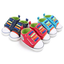 Baby Denim Canvas Shoes Newborn Toddler Soft Sole Lace-up  Casual Sports Sneakers Football Logo Shoes Prewalkers Footwear