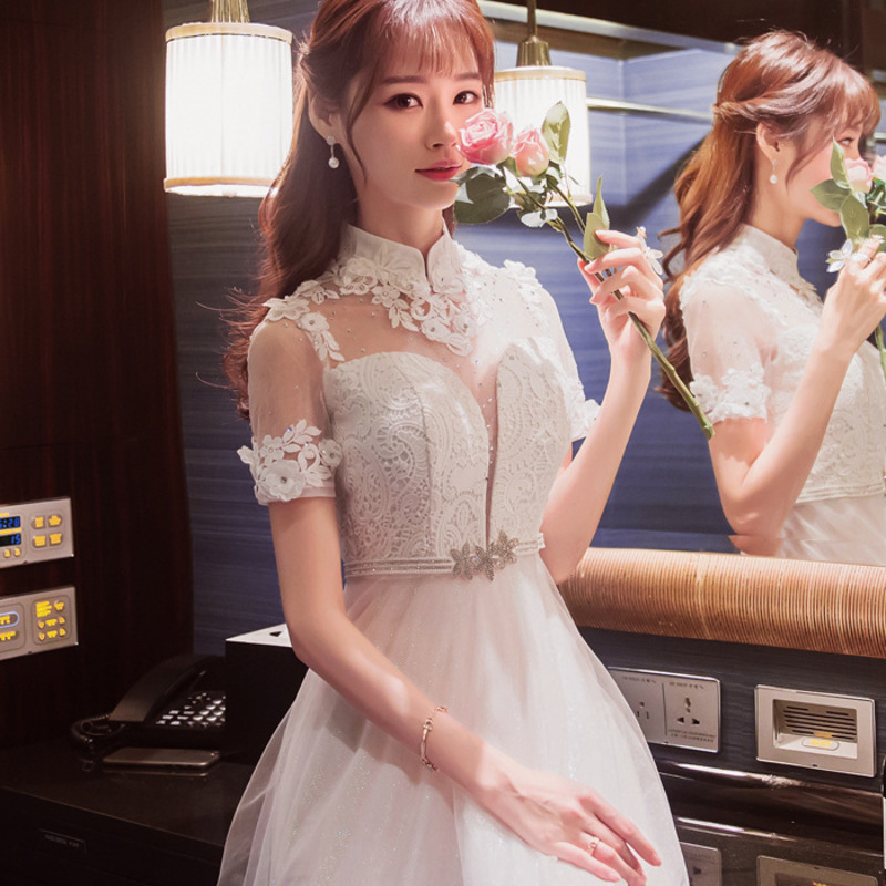 Modern Chinese Traditional Qipao Long Cheongsam Wedding China Evening Dress Party Dresses Vestido White Embroidery Flowers