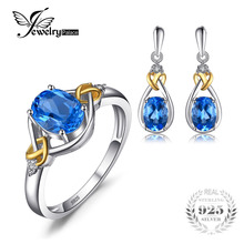 Jewelrypalace Love Knot 18K Gold Aside Natural Blue Topaz Diamond 925 Sterling Silver Jewelry Set Fine Jewelry Earring Ring(China)