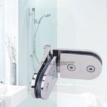 1PCS 180 degree Glass door hinge semicircular surfacedouble side movable bathroom stainless steel glass clamp KF785