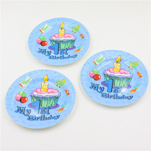 10pcs\lot My 1st birthday party theme Cartoon Baby Shower Dishes Birthday Party Paper Plates Kids Favors Decoration Supplies
