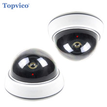 Topvico 2pcs Dummy Camera Battery Powered Flicker LED Fake Camere Surveillance House Home Security Camera CCTV Dome Camera(China)