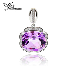 Genuine Octagon Amethyst Gemstone Pendant Halo Shining Cubic Zirconia Around Solid 925 Sterling Silver Fine Jewelry For Lovers(China)