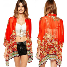 Hot Marketing  Women Printed Chiffon Cardigan Blouse Floral Shawl Kimono Jacket Tops Jul14 Drop Shipping