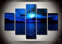 Oil Paintings on Canvas Dark Blue Ocean White Sun High Q. Wall Decor Art Landscape Living room Pictures multi panel 5pcs/set