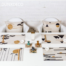 DUNXDECO 2PCS 28x44CM Modern Chinese Style Zen Sense Artistic Painting Linen Cotton Table Placemat Home Store Office Table Deco