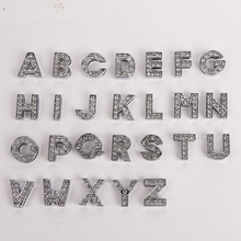 (26 Pieces/Lot)Wholesale 26 Pieces 10 mm Rhinestone Slide Letters Charms DIY Accessory for Pet Collars(China)