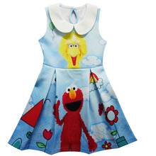 2017 Children Baby Girl Dress Sesame Street Elmo Julia Double Print Cartoon Sleeveless Dress Summer For Girls Party Dresses H793