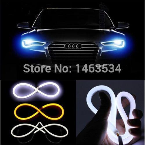 DIY 60cm 12W White+Yellow Flexible Headlight Daytime Lamp Switchback Strip Angel Eye DRL Decorative Light With Turn Signal<br><br>Aliexpress