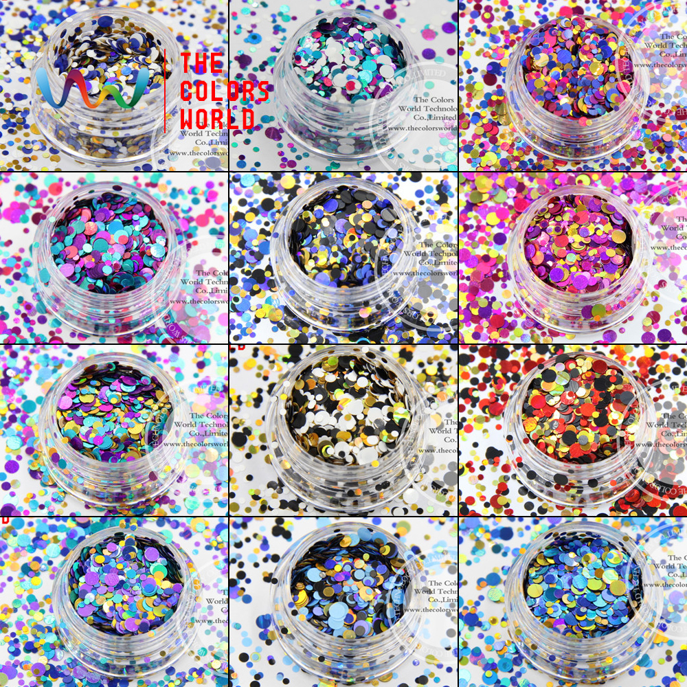 TCT-004  Mix Colors Dot shapes round Glitter for nail art ,nail gel,makeup and DIY decoration Packing by poly bags<br>