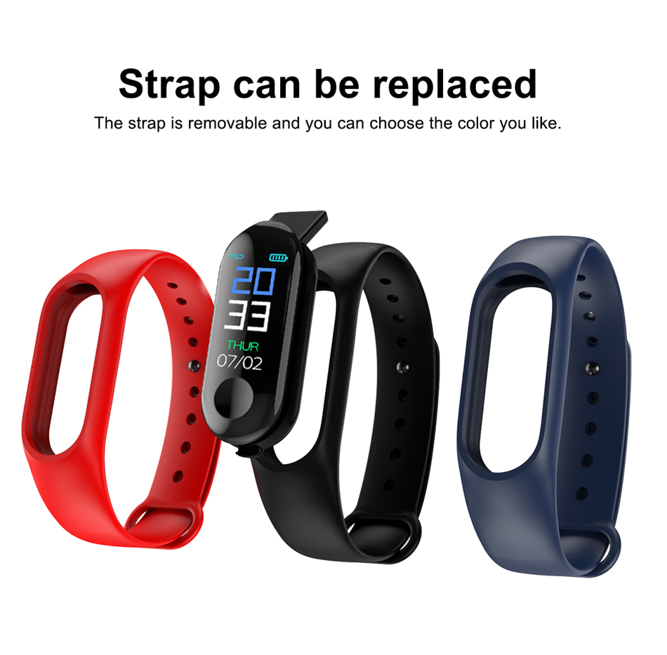 M3 Fitness bracelet pressure measurement Pedometer Fitness tracker Heart rate monitor Oxygen waterproof smart band PK MIBAND 14