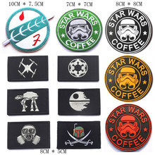 Star Wars Coffee Patches 3D PVC Rubber Embroidered Tactical Boba Fett Bounty Hunter Military Armband Badges For Clothes Bags(China)