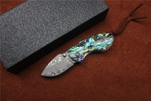 Free shipping,New Damascus folding knife,handle:color shells,outdoor Survival camping hunting pocket knife EDC tools