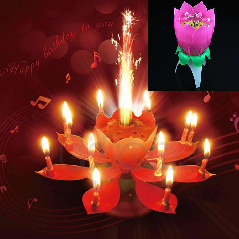 New Beautiful Musical Lotus Flower Rotating Happy Birthday Party Candle Lights Kid Cake Decoration High Quality