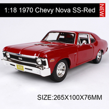 1:18 diecast Car 1970 Chevy Nova SS Muscle Cars 1:18 Alloy Car Metal Vehicle Collectible Models toys For Gift(China)