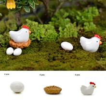 4Pcs Miniature Hen Chicken Egg Fairy Garden Ornament Bonsai Dollhouse Decor 2017 Popular Chicken Decors(China)