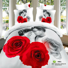100% Cotton 3D Bedclothes 4pcs Bedding Sets  King Or Queen Rose Lover Reactive Print