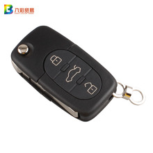 3Buttons Folding Flip Remote Key Shell & Blade HAA With Logo For Audi A2 A3 A4 A6 A8 TT CR2032 Fob Blank Case with logo