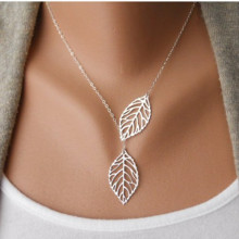 NK607 New Fashion Minimalist Two Leaves Pendants Clavicle Necklaces For Women Jewelry Gift Clavicle Tassel Cheap Chain Collier