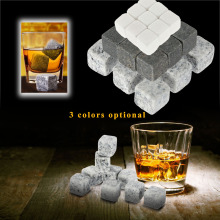 6/9/12 pc Lot ice stones wine cooler whiskey stones Drinks Cooler Cubes Beer Rocks Granite with Pouch Sipping Gift Bar Natural(China)