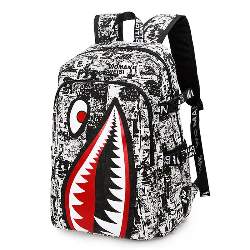 TANGIMP 2017 Vintage Graffiti Shark Printing Backpack Designer Backpack For Teenage Boy Girl Style School Bags zaino<br><br>Aliexpress