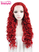 Imstyle loose wave 26'' Long Lace Front Wig Separated In The Middle Bright Red Synthetic hair For Black Women(China)