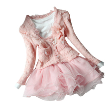 2016 New Autumn Winter Girl Dress Floral Children`s Dress Kids Dresses For Girls 2Pc/set Coat+Dress Toddler Girl Clothes(China)