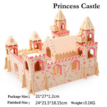 3D Wooden Puzzles Princess Castle  Model Assembly Jigsaws DIY Educational Toys Gift For Kids Free Shipping