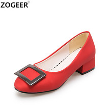 New 2017 Fashion Elegant Women Pumps Casual Low Heels Office Shoes Slip On Red Wedding Shoes Woman Fashion Metal Ladies Shoes