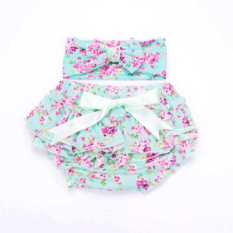 Cotton Baby Bloomers Newborn Diaper Cover Cute Tutu Ruffled Panties Baby Girl Lace Bow Shorts + Headband 2Pcs Baby Clothes