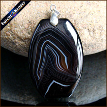 Fashion Women Man Necklace Pendant Natural Black Botswana Agates Stone Pendants Slide Healing Crystals for Jewelry Making KS184