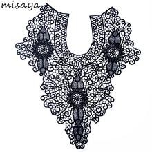 Misaya 1pc Black/White Embroidery flowers Lace Neckline Fabric,Wedding Dress Collar Lace For Sewing Supplies Crafts(China)