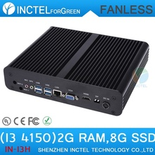 Mini linux embedded cheap fanless mini pc i3 4150 with Intel Core i3 4150 3.5Ghz HDMI VGA dual display