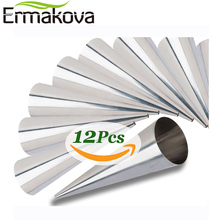 ERMAKOVA Set of 12 Large Size Stainless Steel Pastry Cream Horn Moulds Conical Tube Cone Pastry Roll Horn Mould Baking Mold Tool