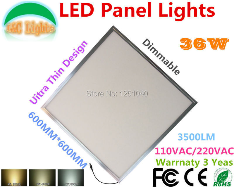 36W Dimmable 60CM X 60CM LED Panel Lights Ultra Bright 600MM X 600MM Grille Light ceiling lamp 3500LM CE RoHS 110V 220V office<br><br>Aliexpress