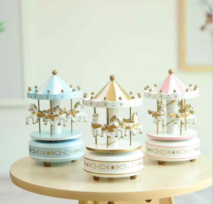 Round Musical Carousel Horse Wooden Music Box Toy Child Game Home Decor Christmas Birthday Gift