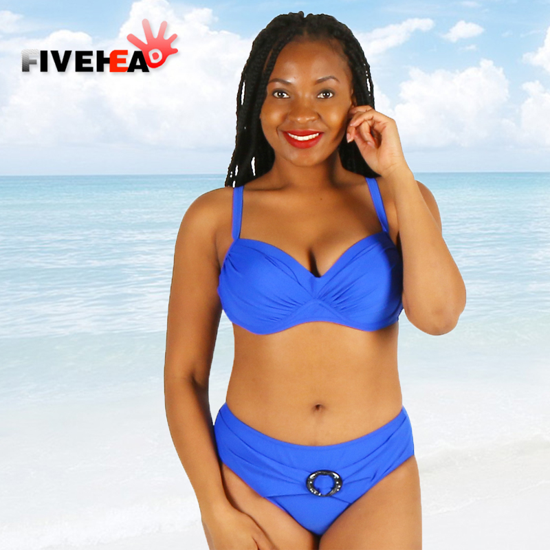 bikini women swimwear sexy sling low waist halter deep v solid color printed large size big cup bathing swimsuit biquini belt<br>