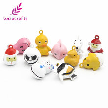 Lucia Crafts 6pcs/lot 15-25mm Random Mixed Cute Cartoon Jingle Bell Pendants Hanging DIY For Christmas Tree Decoration 046011003(China)