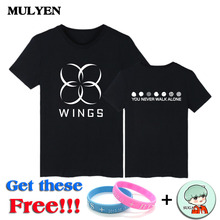 MULYEN 2017 Summer Latest BTS WINGS Album T Shirt Women Short Sleeve Tops Tees High Quality K-POP Brand Clothing Camiseta Mujer
