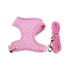 Cotton Dog Puppy Vest Harness Set with Dogs Lead Leash Adjustable Soft Mesh Padded Harness for Teddy Yorkshire Chihuahua
