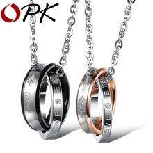 "(Pack of 2) OPK Fashion EU Style ""Forever Love"" Brand Couple Necklace Set Stainless Steel Lovers Promise Jewelry, 866"