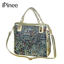 iPinee fashion brand luxury bag designer handbags high quality gold diamante woven denim bags shipping(China)